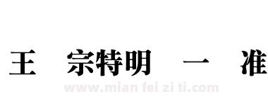 王汉宗特明体一标准