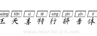 汉呈王天喜特行拼音体(斜框)
