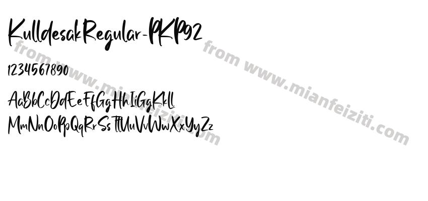 KulldesakRegular-PKP92字体预览